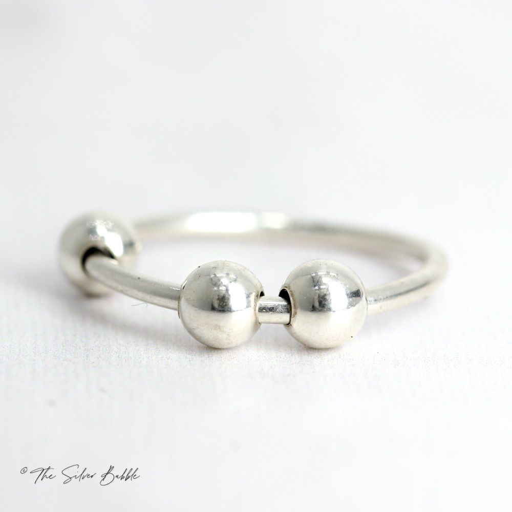 Fidget/Worry/Anxiety Ring - Silver Balls