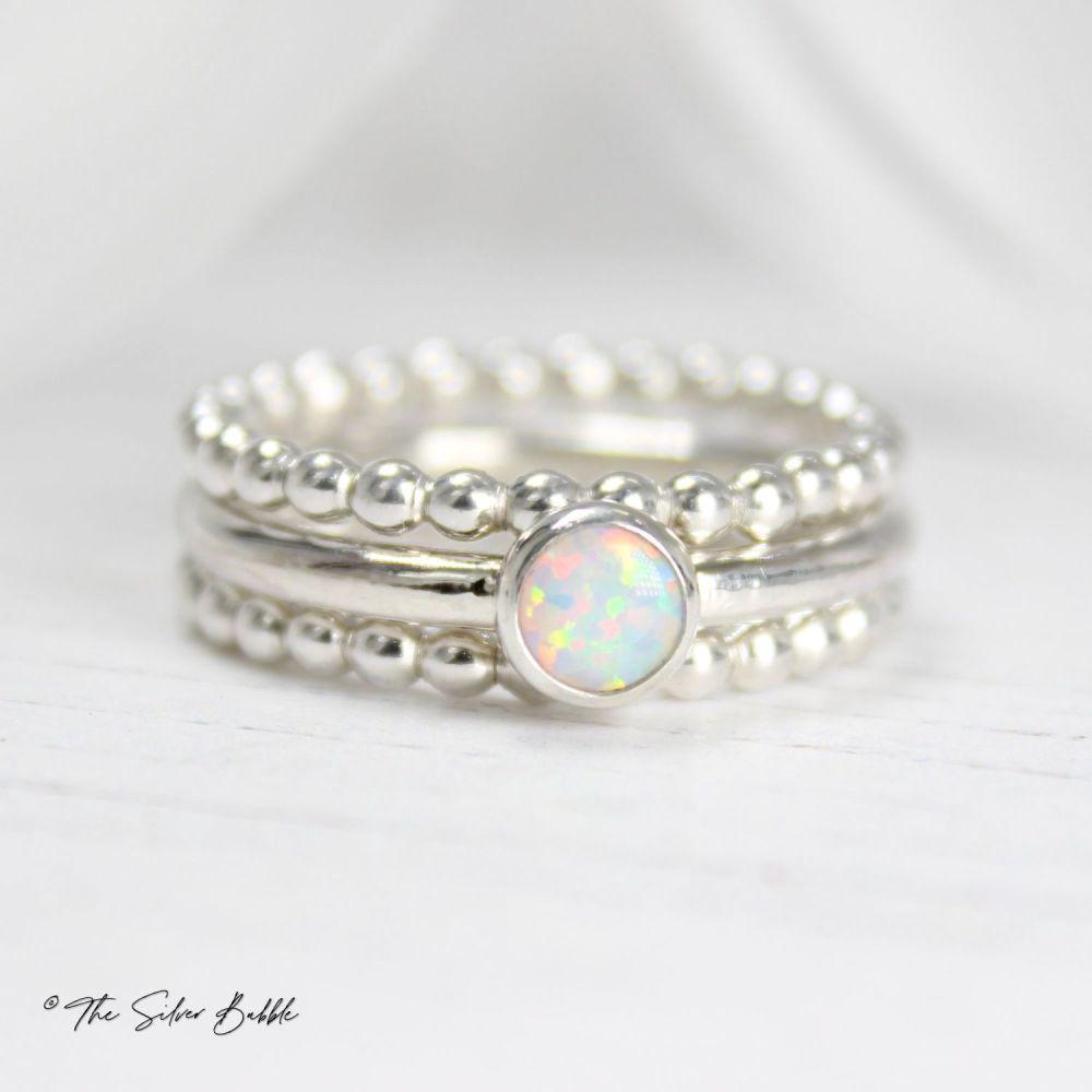 Opal Stacking Ring Set