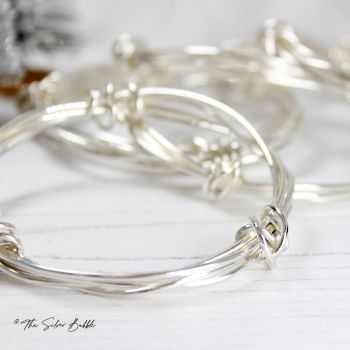 Twisted Halo Bangle with Sterling Silver Twists
