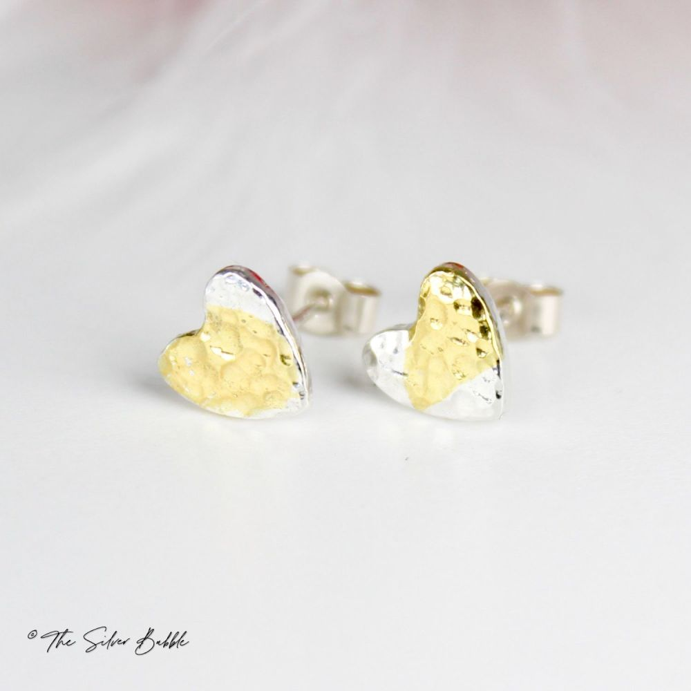Hammered Heart Stud Earrings with a splash of 24K Gold
