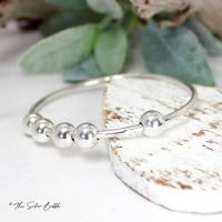 Fidget Bangle with Five Silver Balls - 2mm