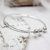 Fidget Bangle with Three Silver Balls - 2mm