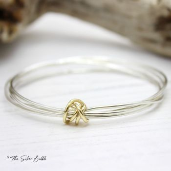 Twisted Halo Bangle with 9ct Gold Twist