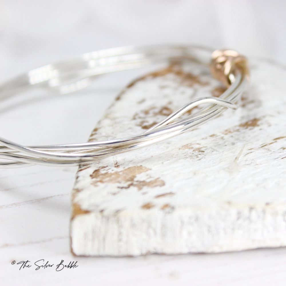 Twisted Halo Bangle with 9ct Rose Gold