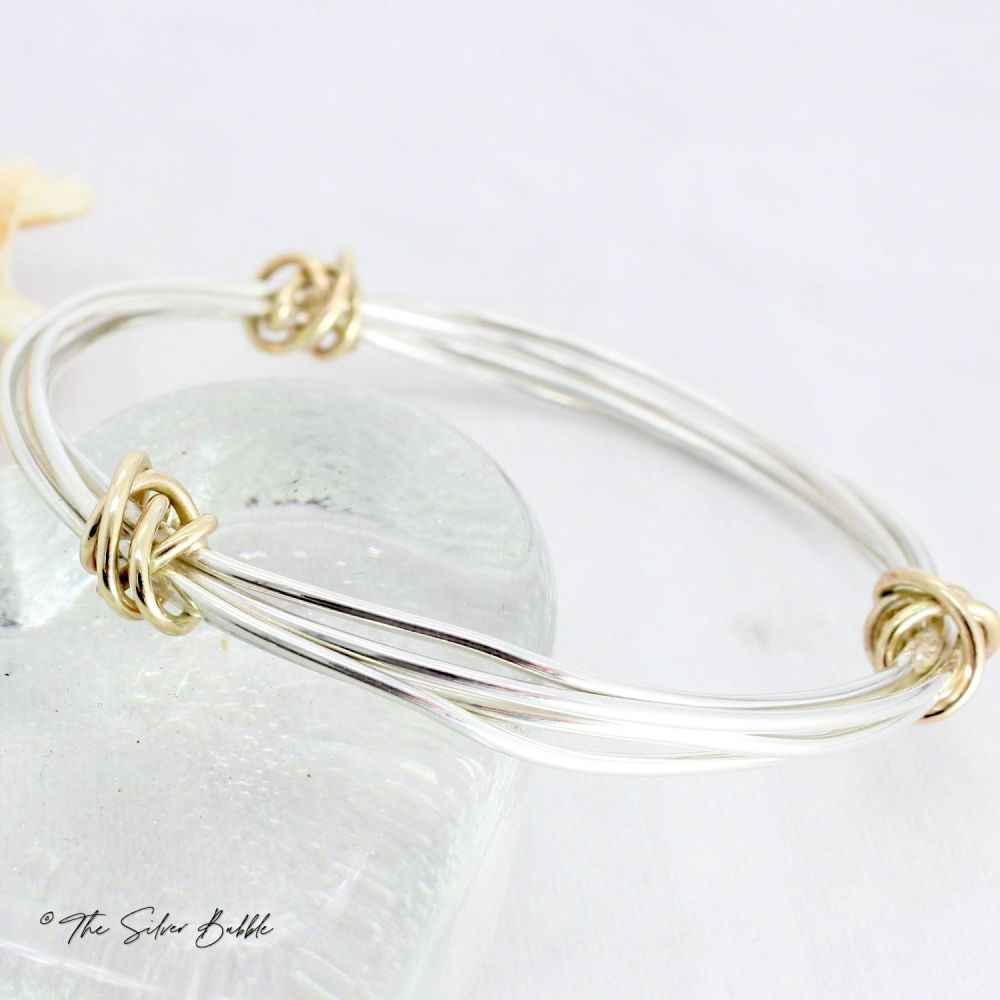 Twisted Halo Bangle with Three 9ct Gold Twists