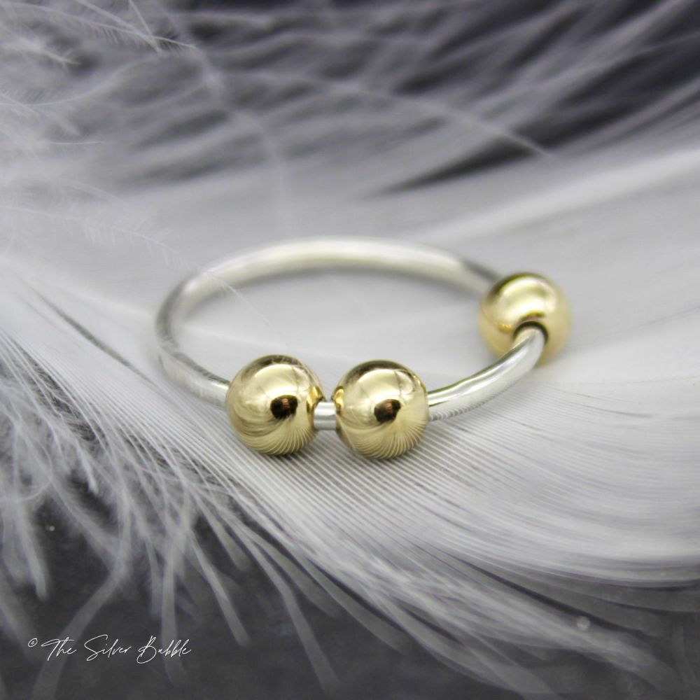 Fidget/Worry/Anxiety Ring - Silver Band/Gold Balls