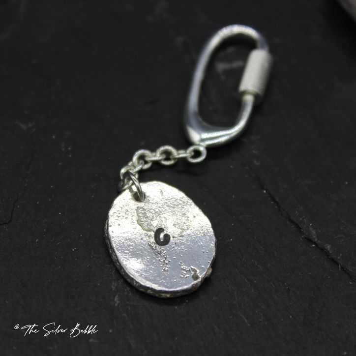 Rolled Nugget Keyring with sterling silver ring - personalised