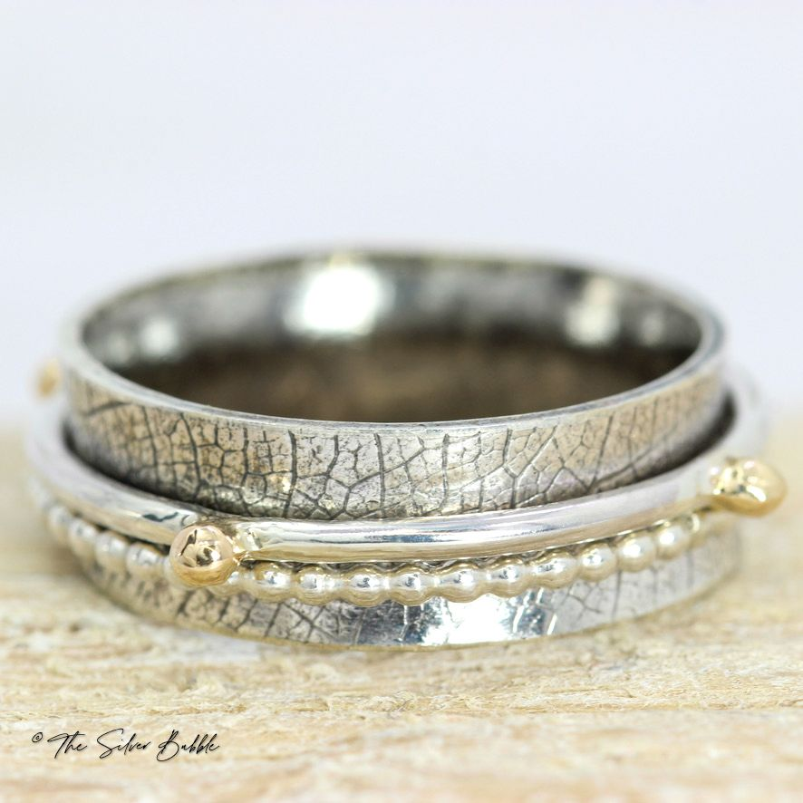Leafy Spinner Ring - silver & gold