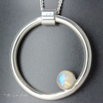 Circle Necklace with Rainbow Moonstone