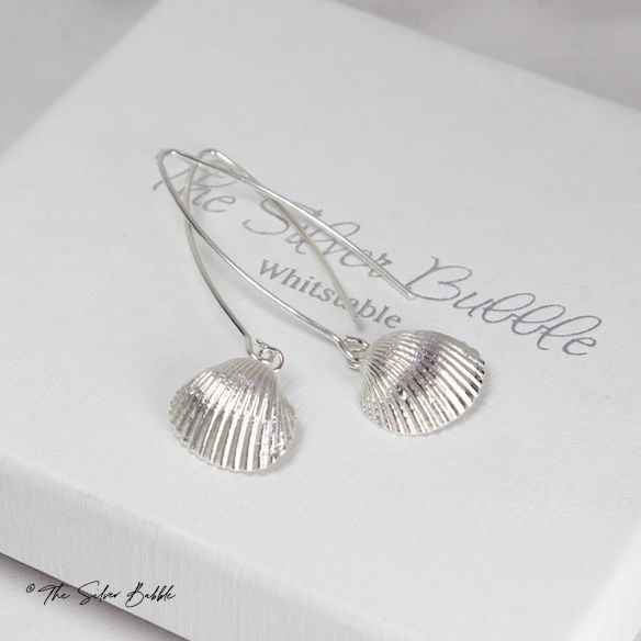 Whitstable Shell  Long Drop Earrings (design 2) - natural finish