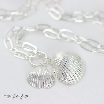 """Double Whitstable Shell Necklace (design 1) on a 22"""" Oval Link Chain"""