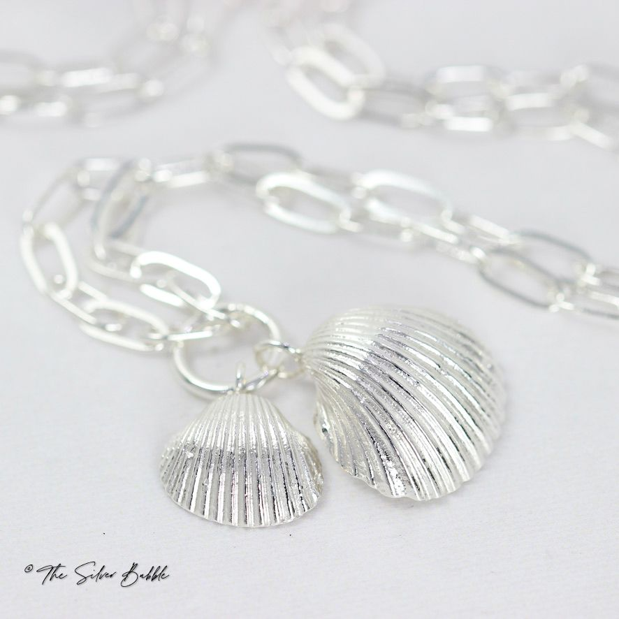 Double Whitstable Shell Necklace (design 1) on a 22
