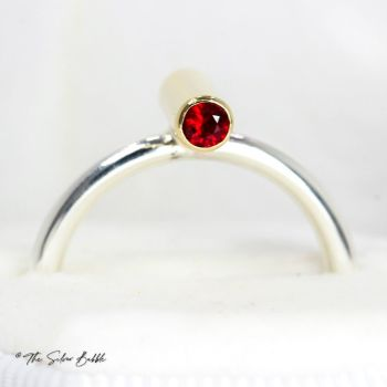 Life in Balance - Silver & Gold Ring with Ruby & Sapphire