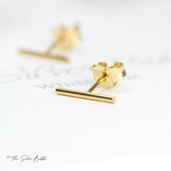 Bar None Stud Earrings - Gold Filled