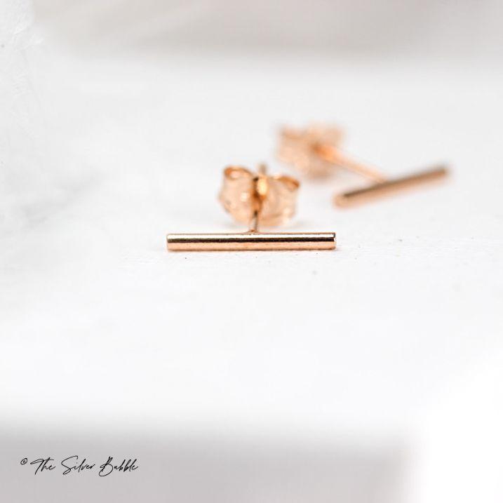 Bar None Stud Earrings - Rose Gold Filled