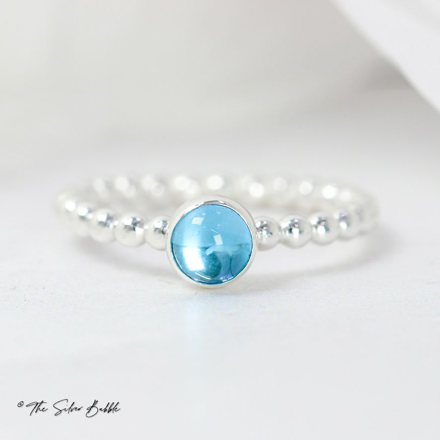 Swiss Blue Topaz Bubble Stacking Ring