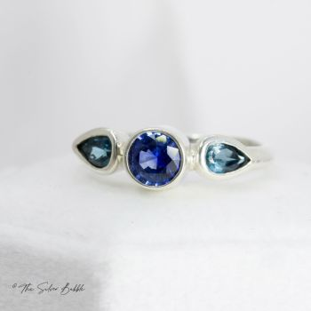 Sapphire & Topaz Triple Ring