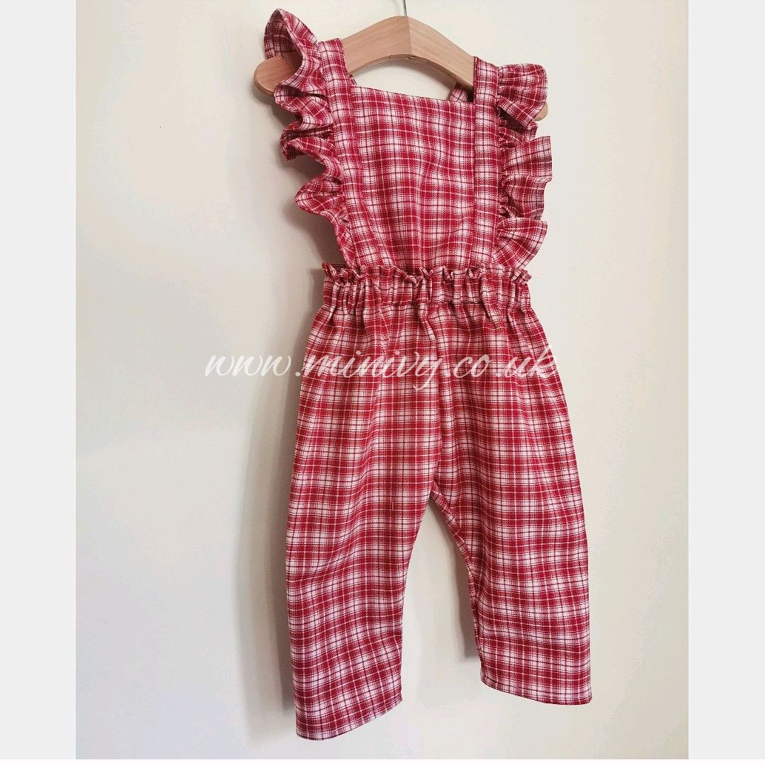 RUFFLE JUMPSUIT - RED CHECK