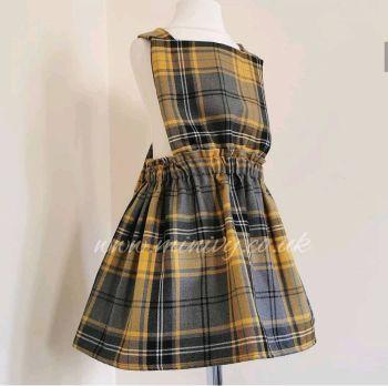 GREY/YELLOW TARTAN PINNY DRESS