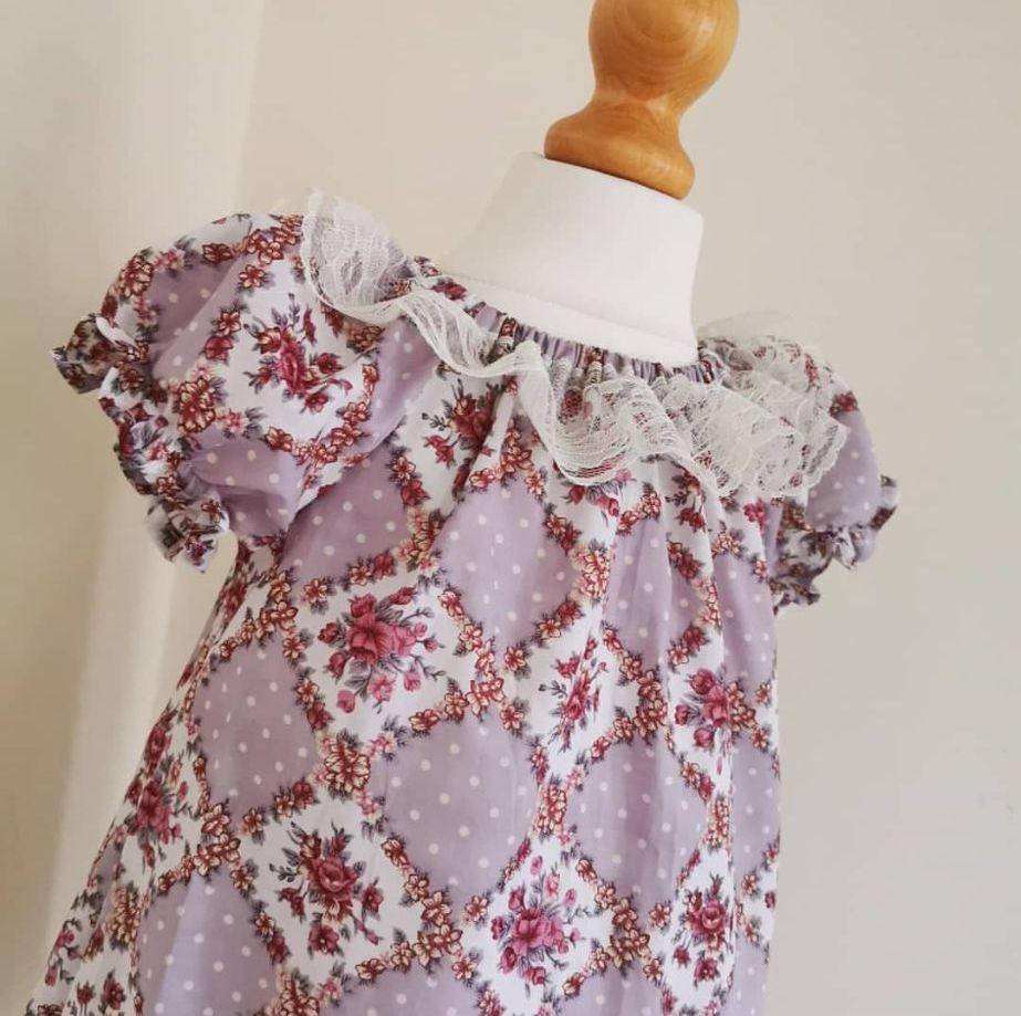 2/3Y - LAVENDER FLORAL DAINTY DRESS