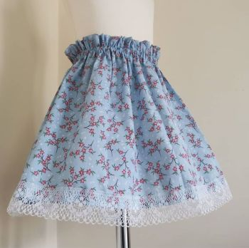 3/4Y - BLUE DITSY FLORAL SKIRT