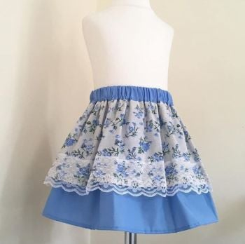 12/18M - BLUE FLORAL LAYER SKIRT