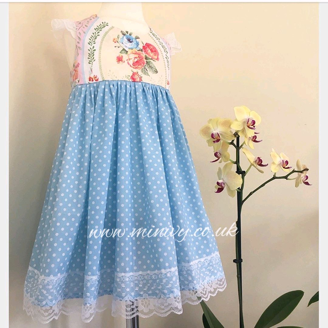 BLUE POLKA / VINTAGE IVY DRESS