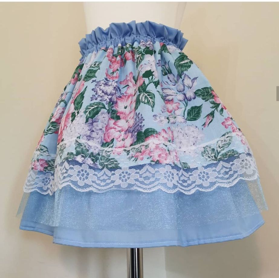 4/5Y - BLUE FLORAL LAYER SKIRT