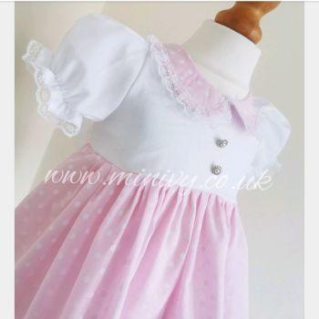 BETSY DRESS - PASTEL POLKA PINK