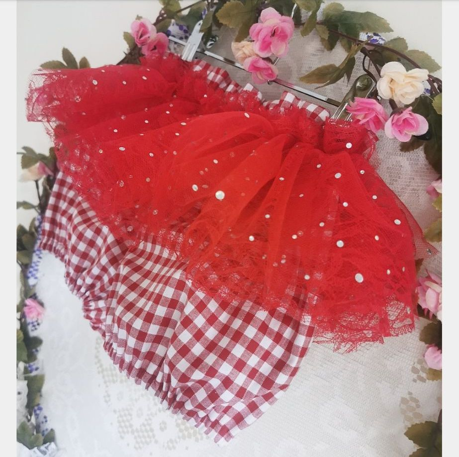 2/3Y TULLE PEPLUMS - RED GINGHAM RRP-£17