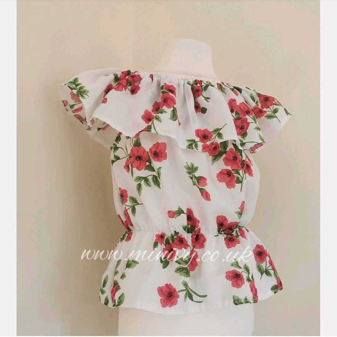 5/6Y GYPSY TOP - POPPIES RRP-£12
