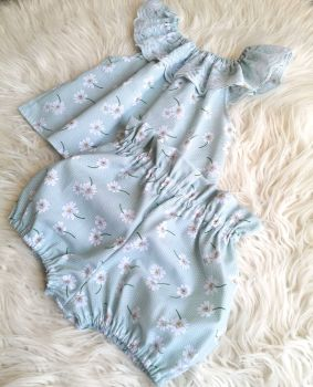 3/4Y DELILAH BLOUSE AND BLOOMS SET - MINT DAISY RRP-£