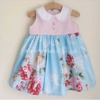 BETSY DRESS - BLUE VINTAGE / PASTEL PINK