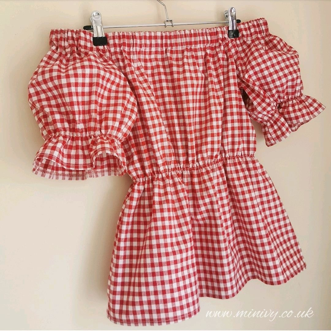 ANGELINA BLOUSE - RED GINGHAM