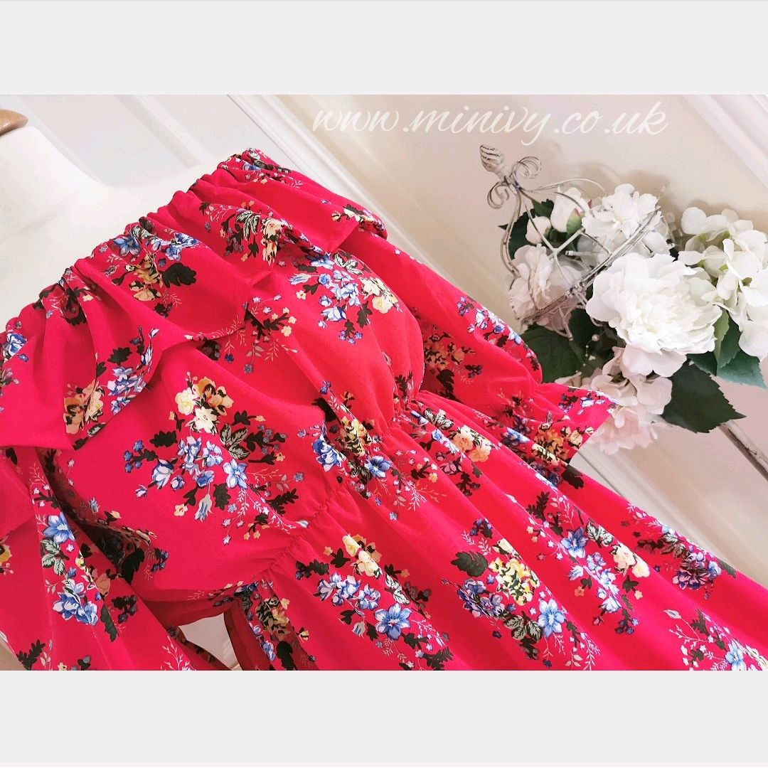 BONITA DRESS - RED DITSY FLORAL
