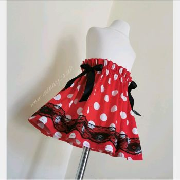 RED POLKA LACEY SKIRT