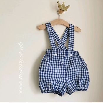 NAVY GINGHAM BRACED BLOOMERS