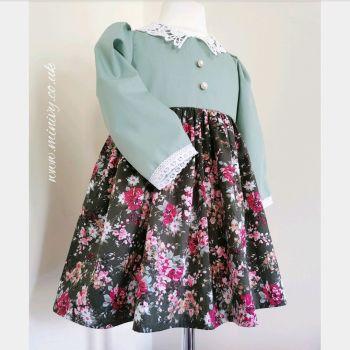 BETSY DRESS - FOREST FLORAL / SAGE