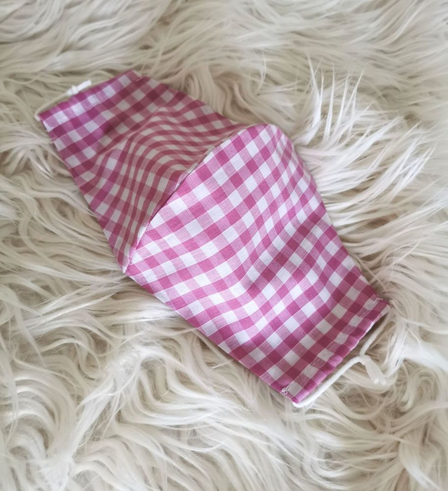 PINK GINGHAM FACE COVERING - ADULTS