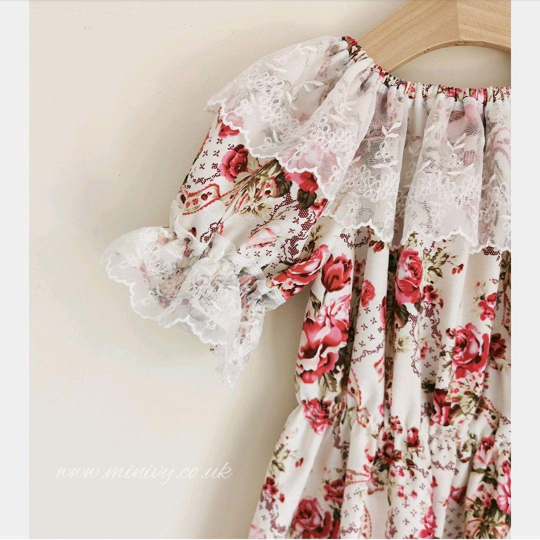4/5Y GYPSY DRESS - SWEET ROSE / AUSTRIAN LACE