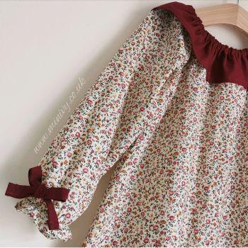 ARABELLA RUFFLE DRESS - DITSY WINE FLORAL