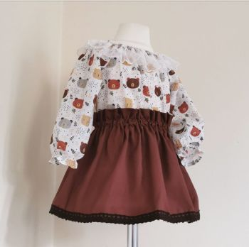 12/18M WOODLAND BEAR BLOUSE / SKIRT SET