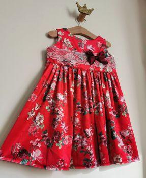 EMELIA DRESS - RED FLORAL VELOUR