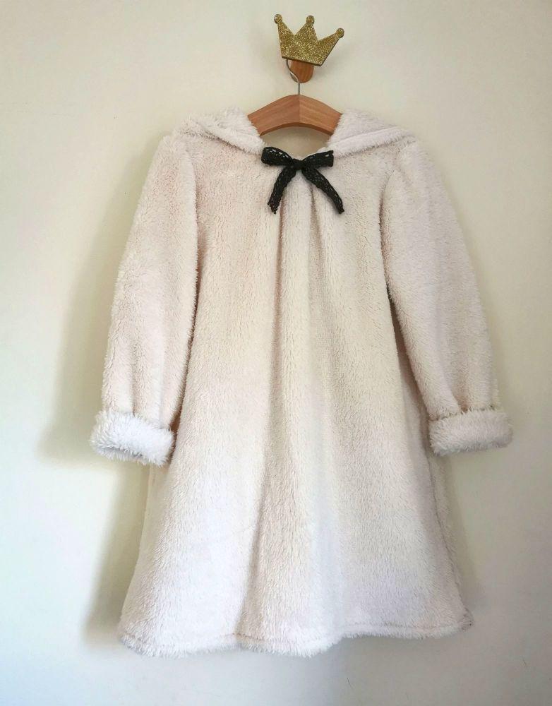 SNUGGLY FAUX FUR HOODIE JUMPER DRESS