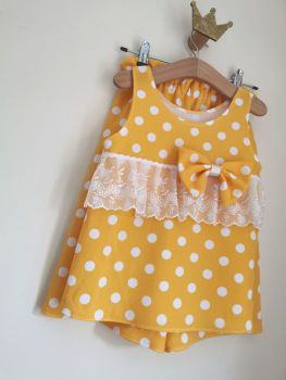 CULOTTES LOUNGE SET - GOLDEN YELLOW POLKA