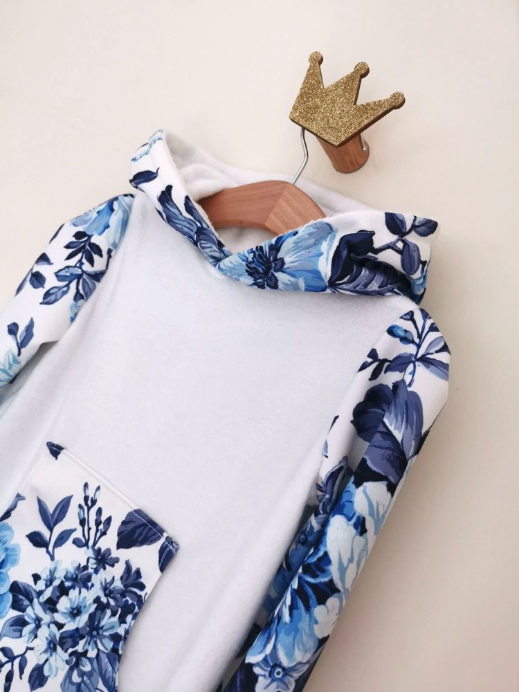 HOODED JUMPER DRESS - VINTAGE BLUE SCUBA