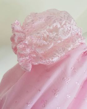 BRODERIE / LACE SLEEVE GYPSY CROP - PINK