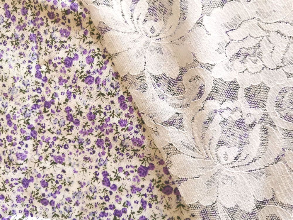 ⚡ SALE - LILAC DITSY / LACE SLEEVE DAINTY BLOUSE