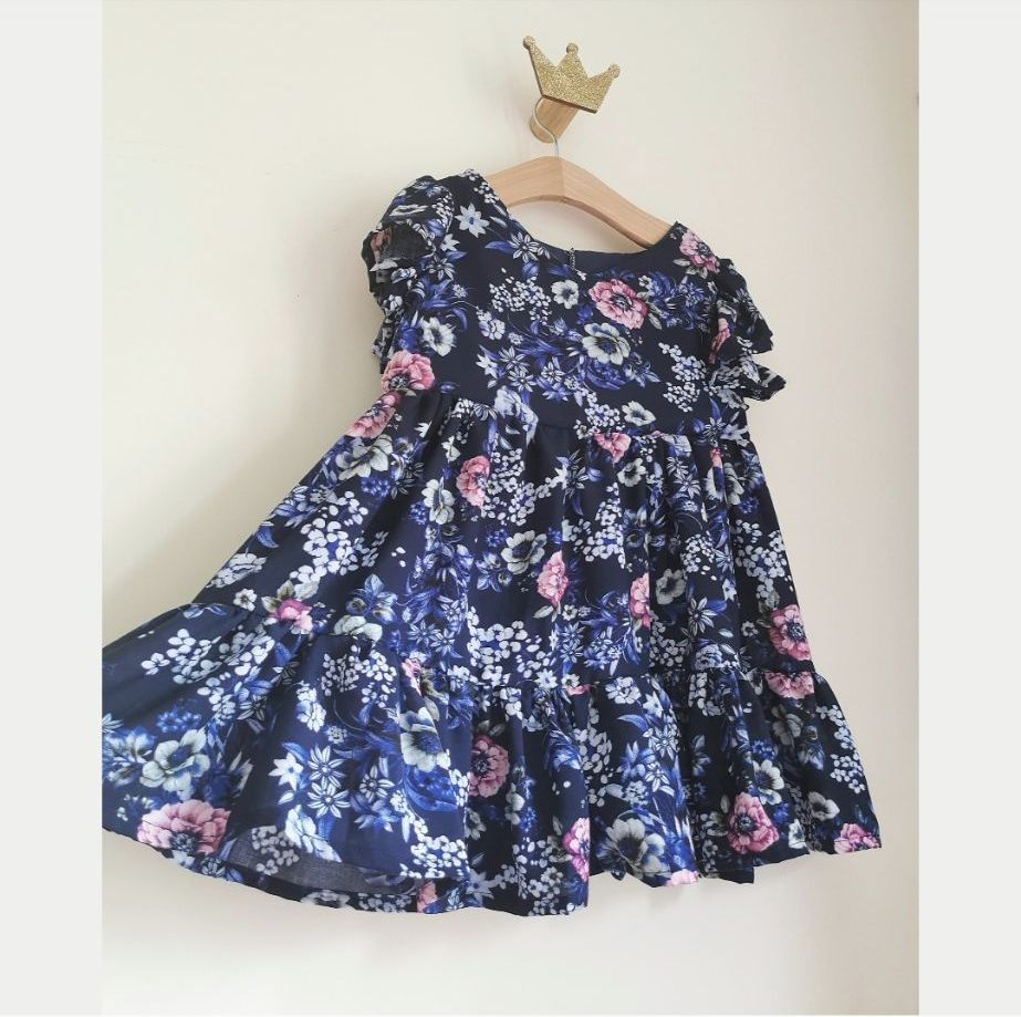 ⚡ SALE - TIER DRESS - NAVY VINTAGE ROSE
