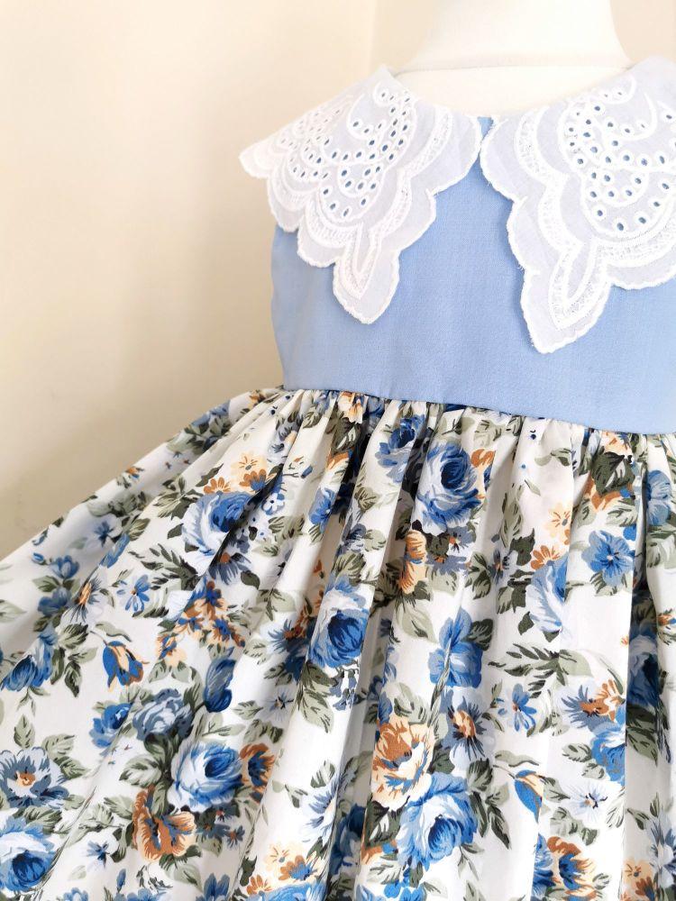 COLLAR DRESS - POWDER BLUE ANTIQUE ROSE
